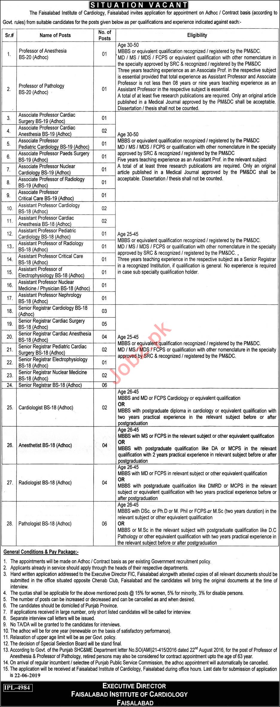 Faisalabad Institute of Cardiology Jobs 2019