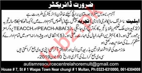 Autism Resource Center Lahore Director Jobs in Multan