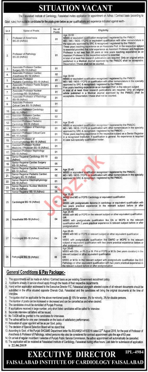 Faisalabad Institute of Cardiology Medical Staff Jobs 2019