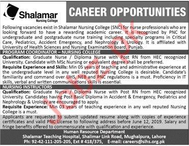 Shalamar Nursing College Jobs 2019 in Lahore