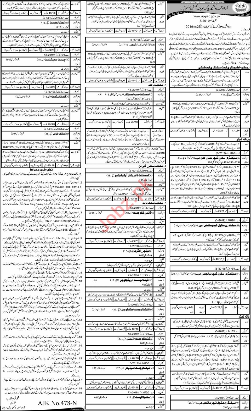 AJKPSC Jobs 2019 in Muzaffarabad
