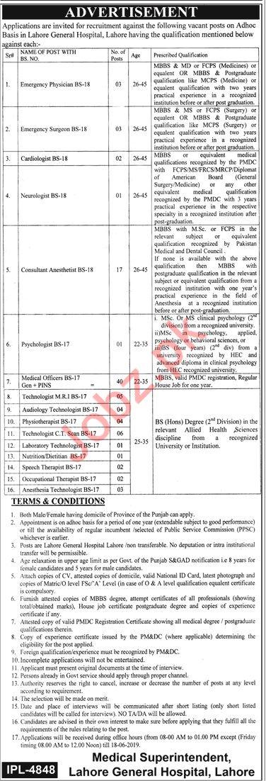Lahore General Hospital Medical Staff Jobs 2019
