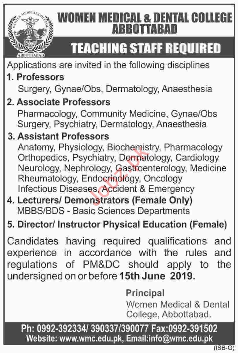 Women Medical & Dental College Abbottabad Teaching Jobs