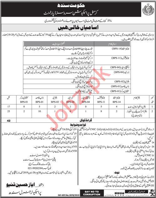 Criminal Prosecution Services Department Jobs in Karachi