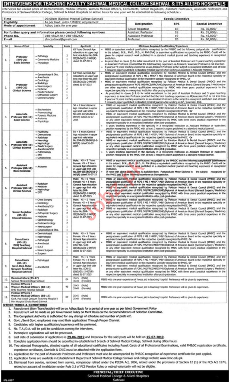 Sahiwal Medical College Professors Jobs 2019