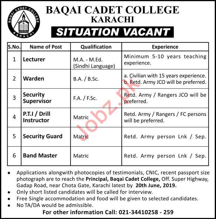 Baqai Cadet College Lecturer Jobs 2019