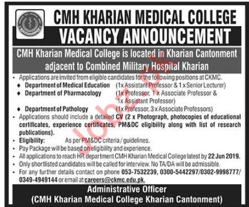 CMH Kharian Medical College Faculty Jobs 2019