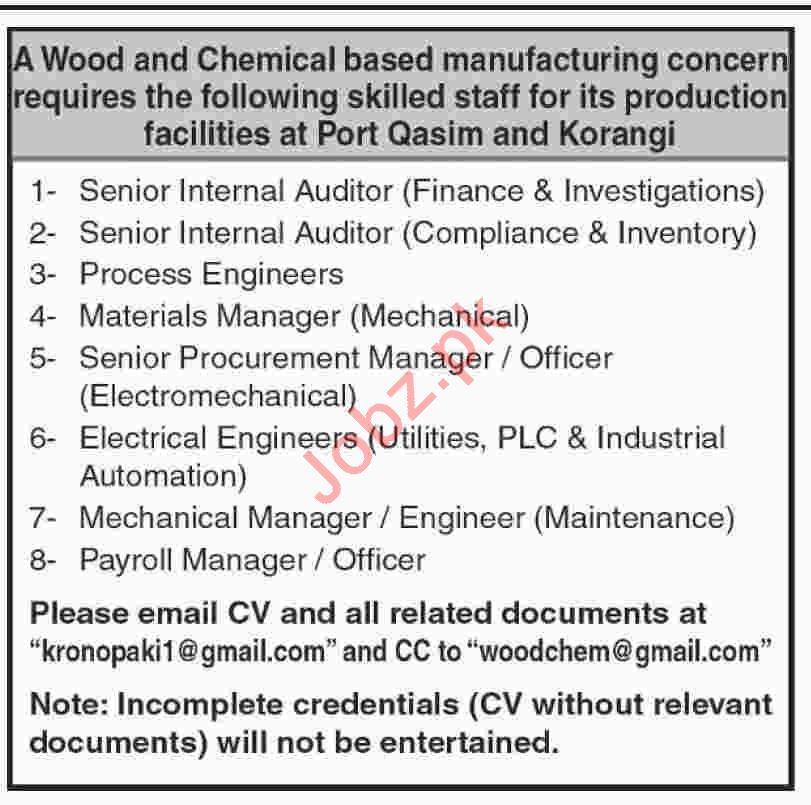 Internal Auditor & Process Engineer Jobs 2019 in Karachi