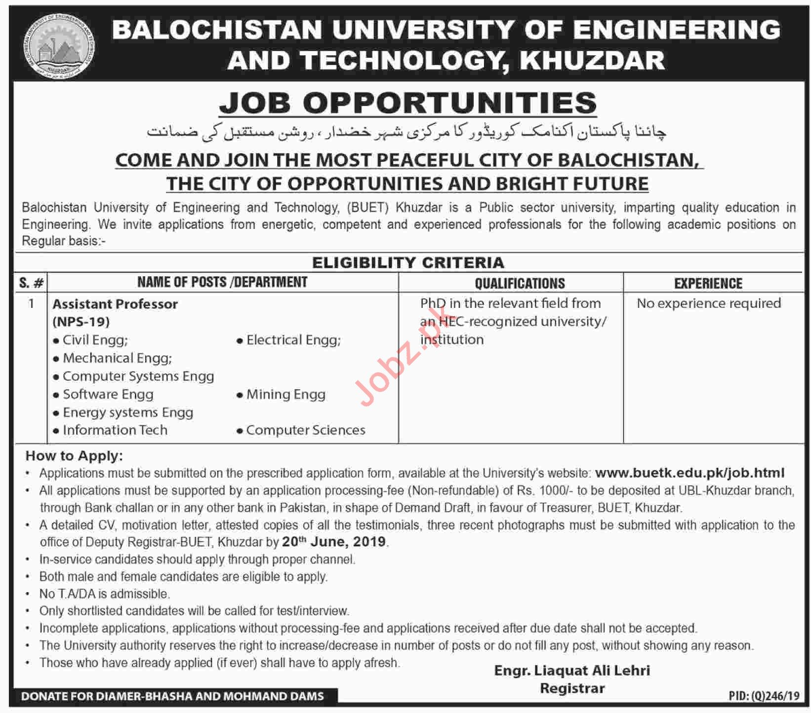 Balochistan University of Engineering BUETK Khuzdar Jobs