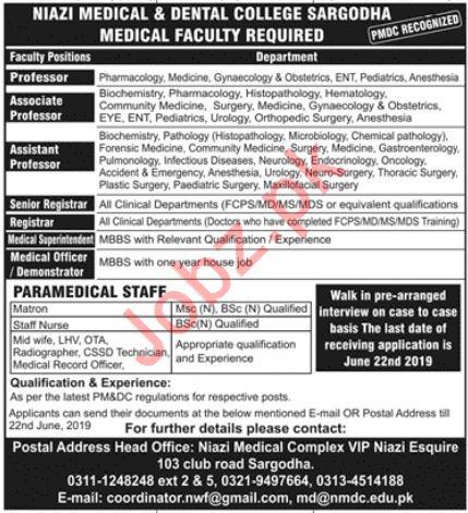 Niazi Medical & Dental College Medical Faculty Jobs 2019