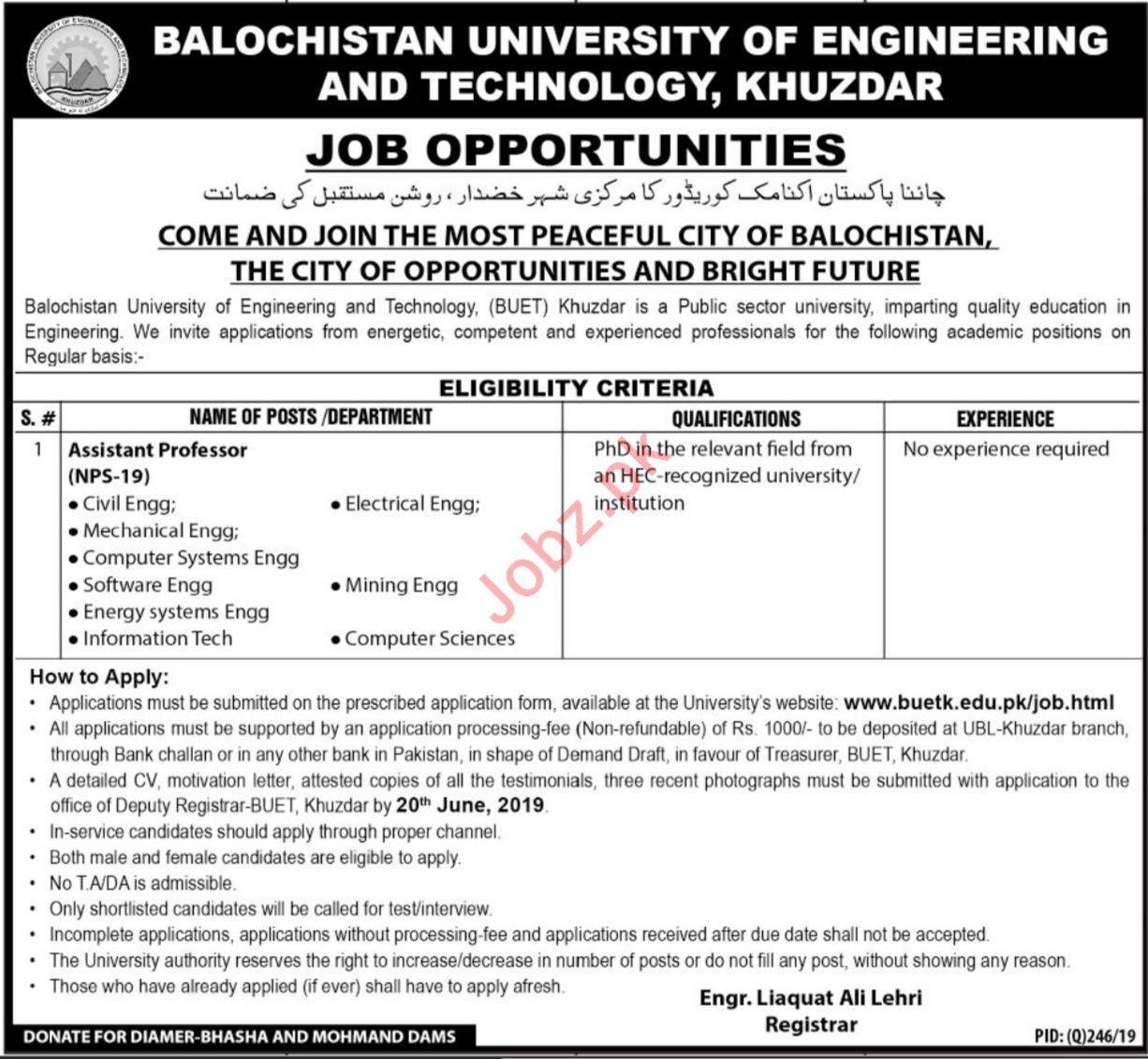 Balochistan University of Engineering and Technology Jobs