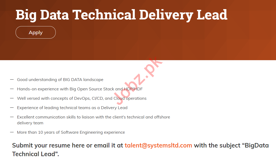 Big Data Technical Delivery Lead Jobs 2019 in Karachi