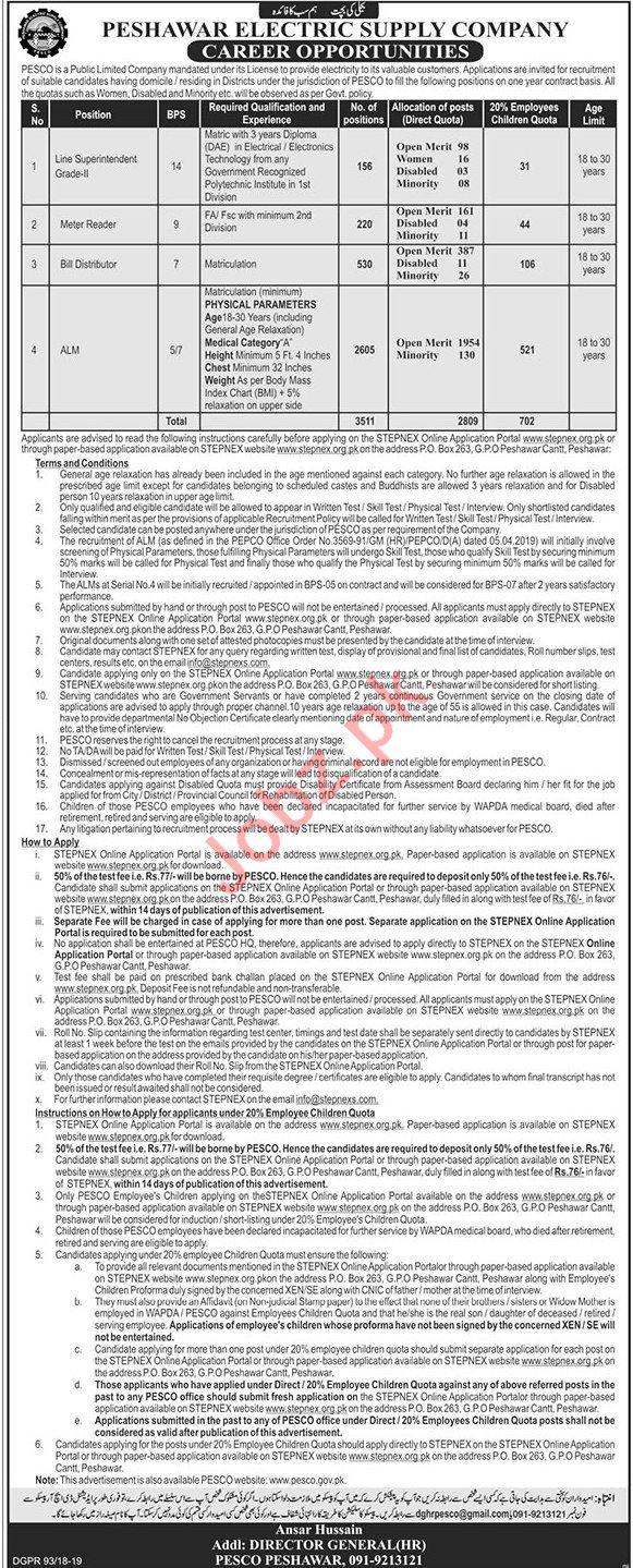 Peshawar Electric Supply Company Jobs 2019