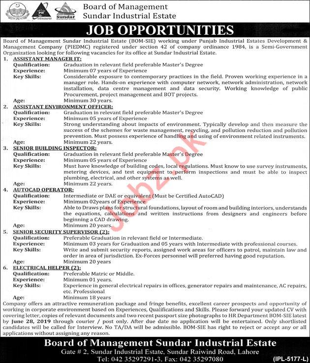 Board Of Management Sunder Industrial Estate Jobs 2019