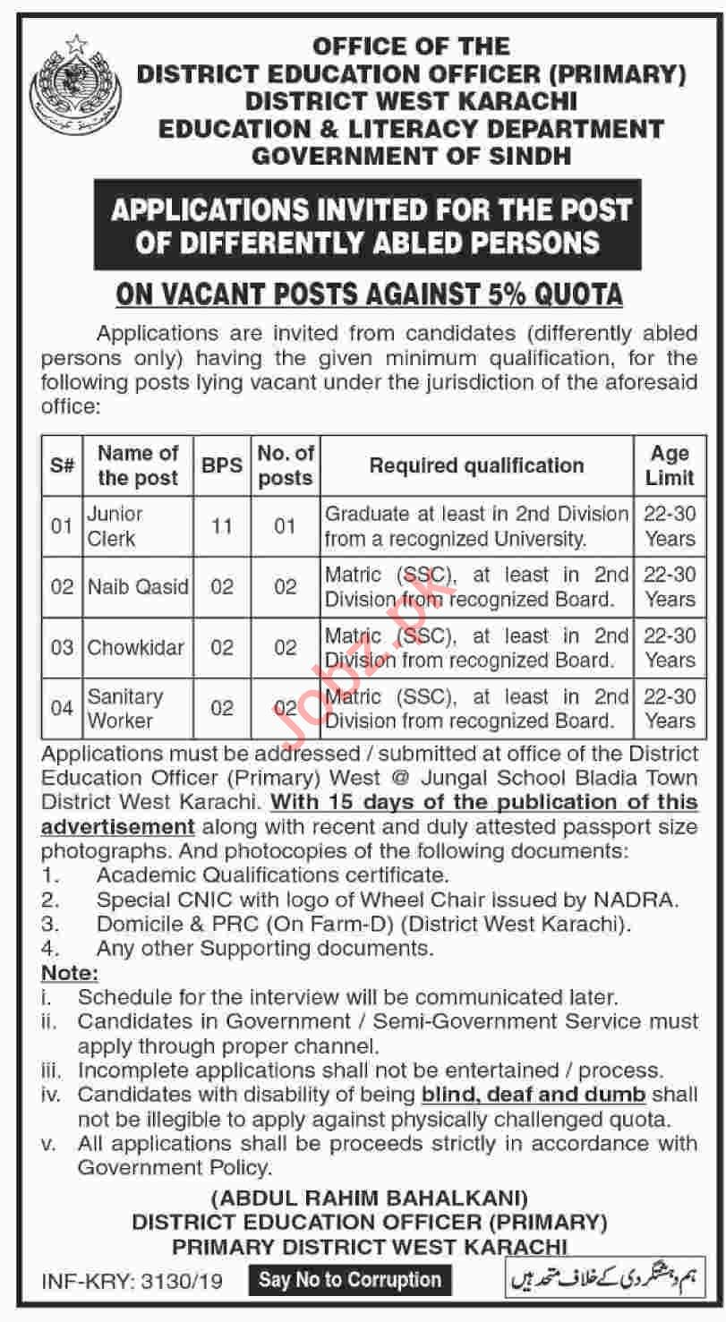 Education & Literacy Department Sindh Jobs 2019