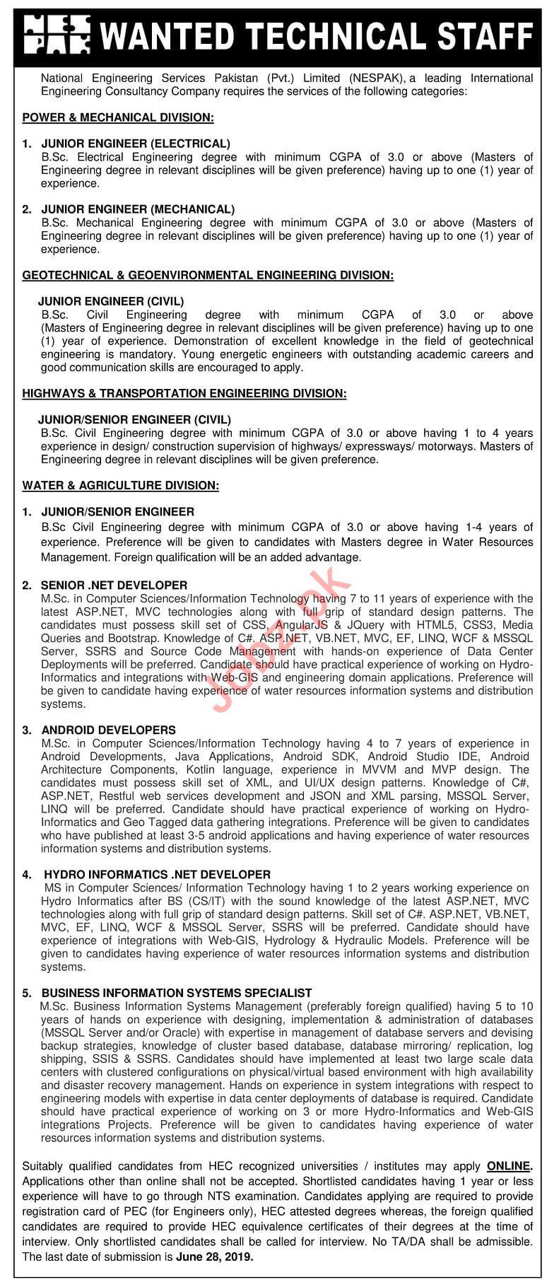 National Engineering Services Pakistan NESPAK Jobs 2019