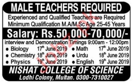 Nishat College of Science Lodhi Colony Multan Teachers Jobs