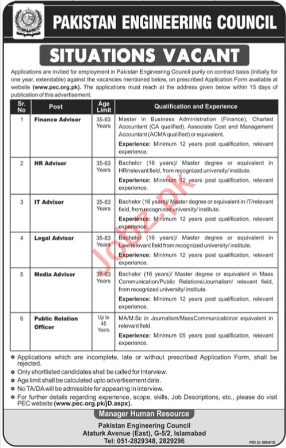 Pakistan Engineering Council Management Jobs 2019