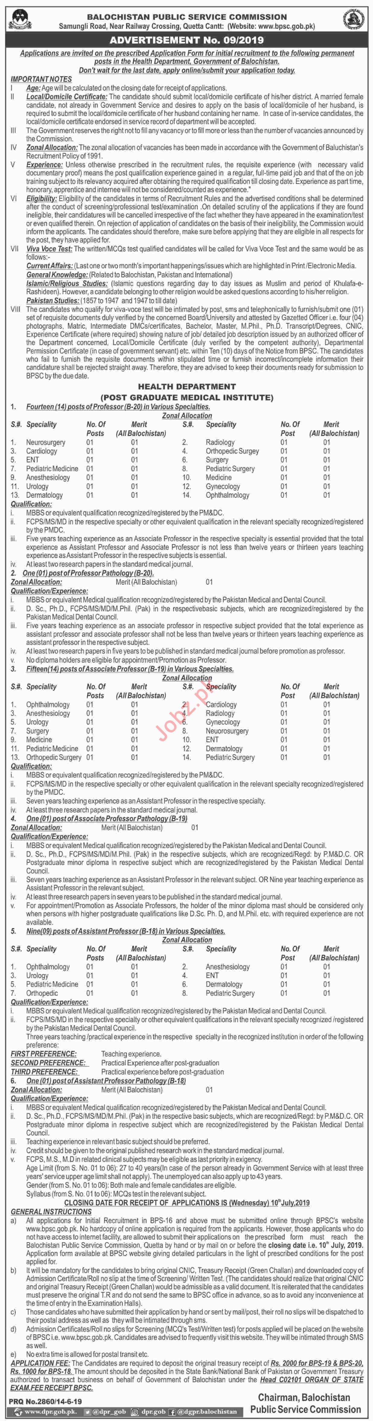 BPSC Balochistan Public Service Commission Jobs July 2019