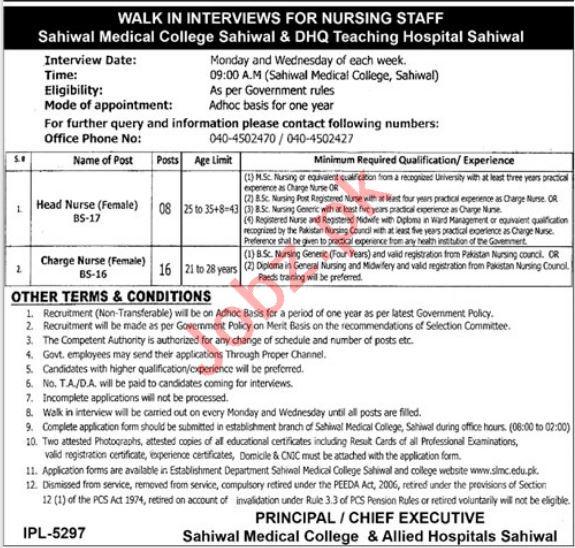 Sahiwal Medical College DHQ Jobs 2019 for Nursing Staff