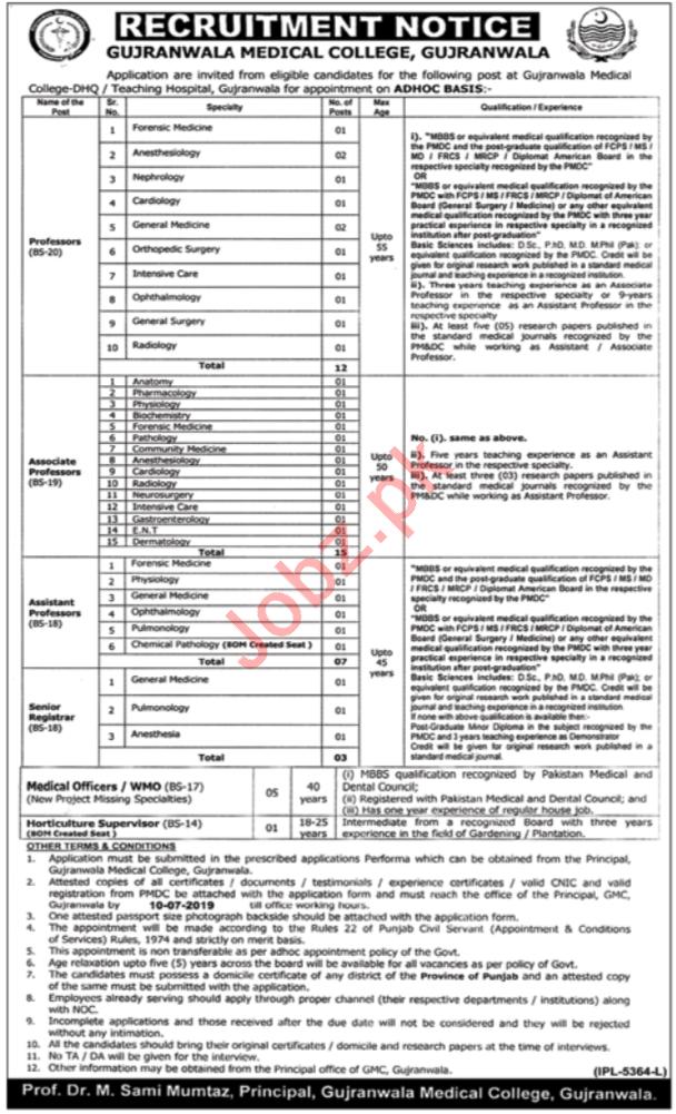 Gujranwala Medical College Jobs 2019 in Gujranwala
