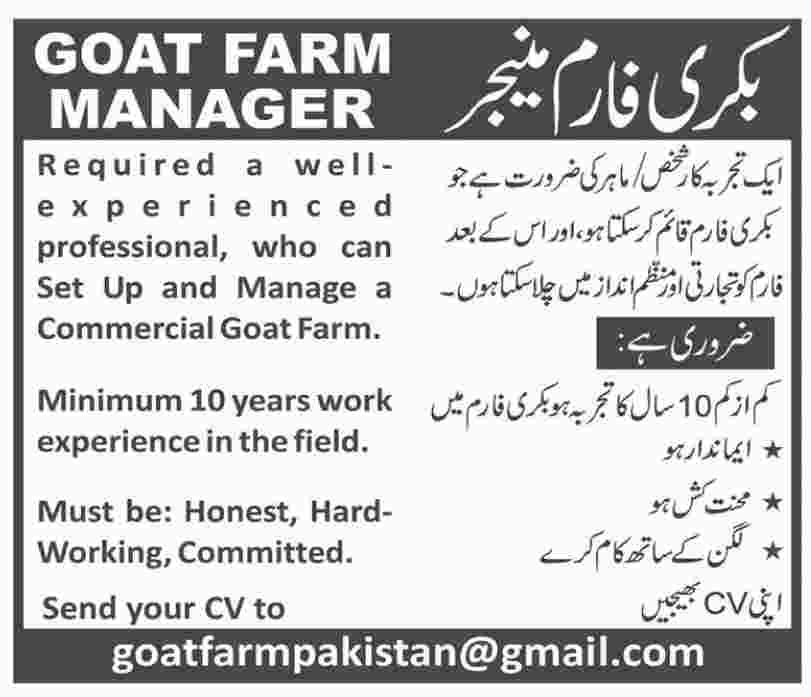 Goat Farm Manager Job in Karachi
