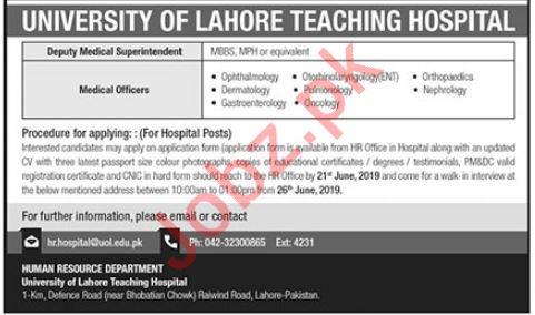 University of Lahore Teaching Hospital Jobs 2019 in Lahore