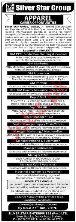 Silver Star Group Jobs 2019 in Sialkot