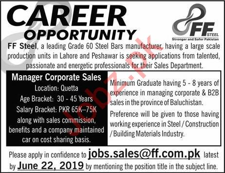 Manager Corporate Sales Job in Quetta