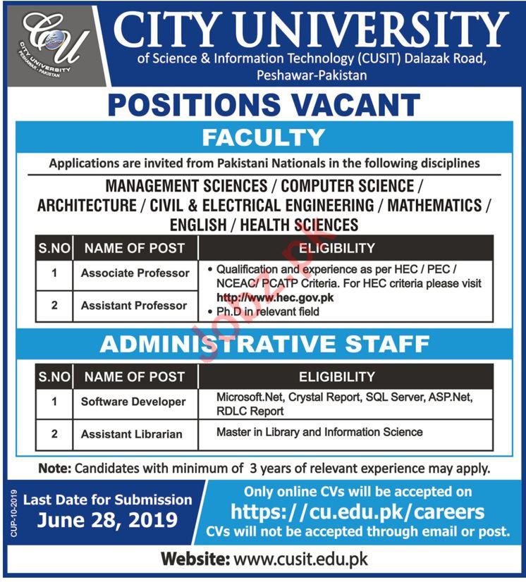 City University Peshawar Jobs 2019 for Professors