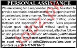 Tipu Associates Lahore Jobs 2019 in Personal Assistant