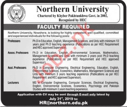 Northern University Faculty Jobs 2019 in Nowshera KPK
