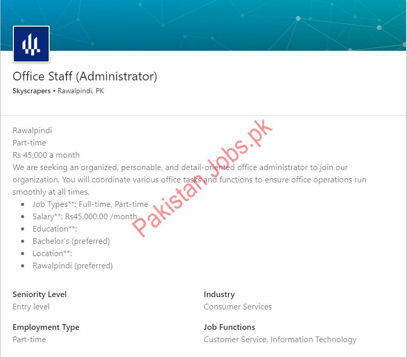 Administrator Job in Rawalpindi