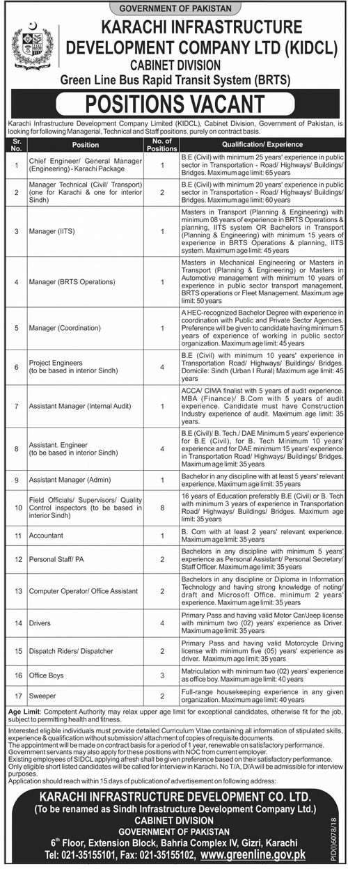 Karachi Infrastructure Development Company Jobs 2019