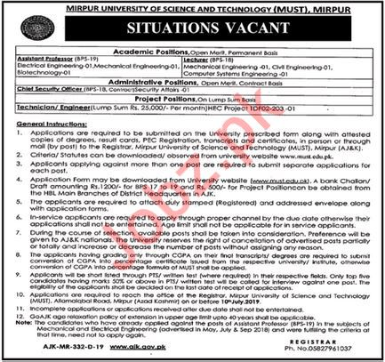 Mirpur University of Science & Technology MUST Jobs 2019