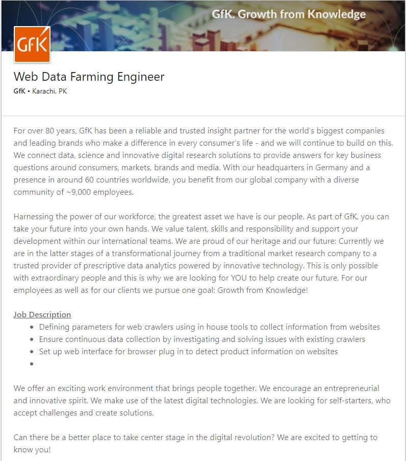 Web Data Farming Engineer Job in Karachi