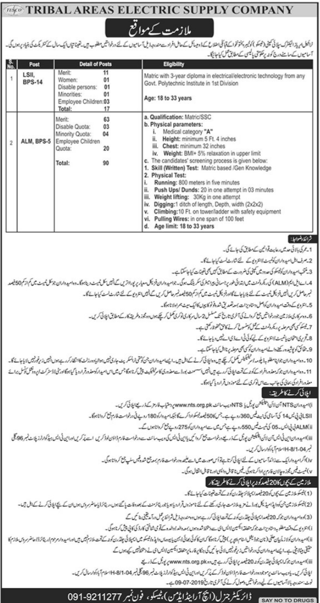 Tribal Areas Electricity Supply Company LSII & ALM Jobs
