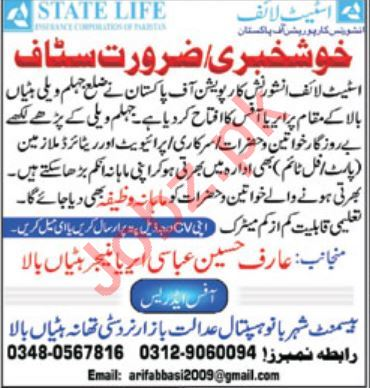 State Life Insurance Jhelum Valley Jobs for Sales Staff
