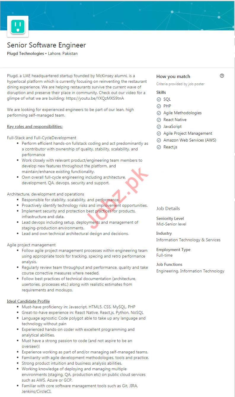 Plugd Technologies Lahore Jobs for Software Engineer