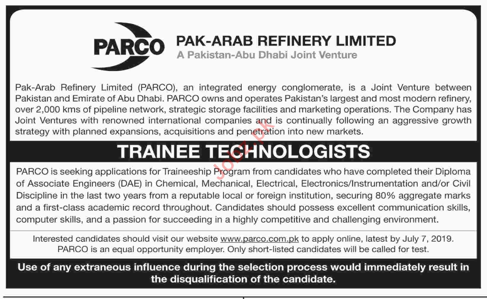 PARCO Pak Arab Refinery Limited Karachi Jobs 2019