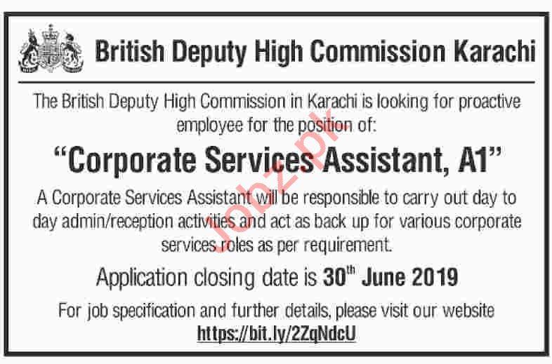 British Deputy High Commission Karachi Jobs 2019