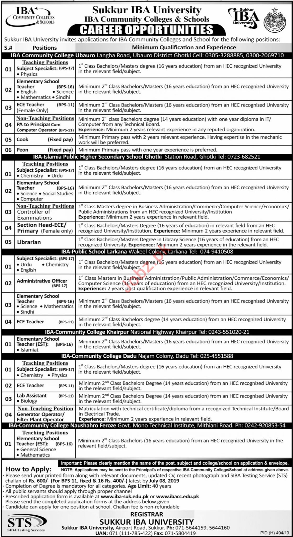 IBA Community Colleges & Schools Jobs 2019 in Sukkur