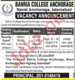 Bahria College Job 2019 For Security Guard