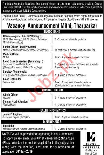 The Indus Hospital Tharparkar Jobs 2019