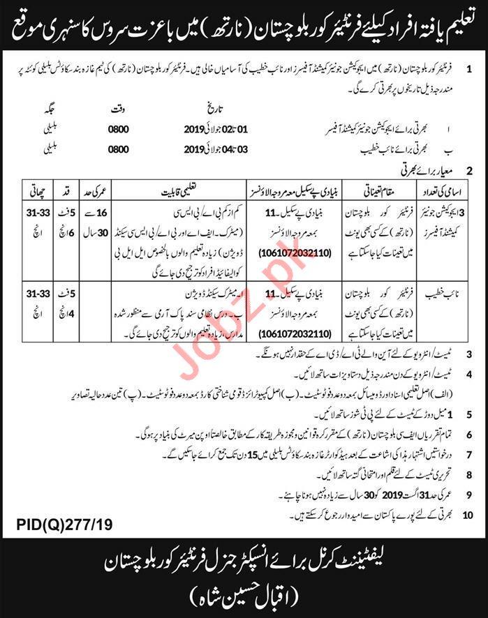 Frontier Core Jobs 2019 in Balochistan