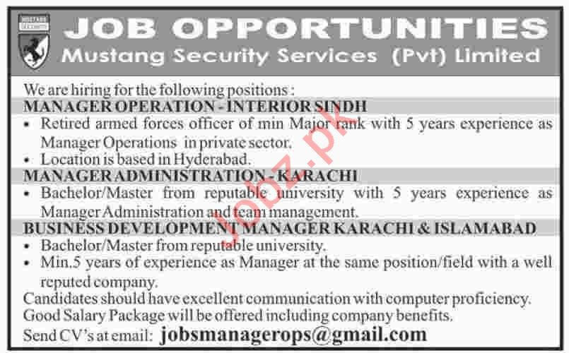 Mustang Security Services Islamabad Jobs for Managers