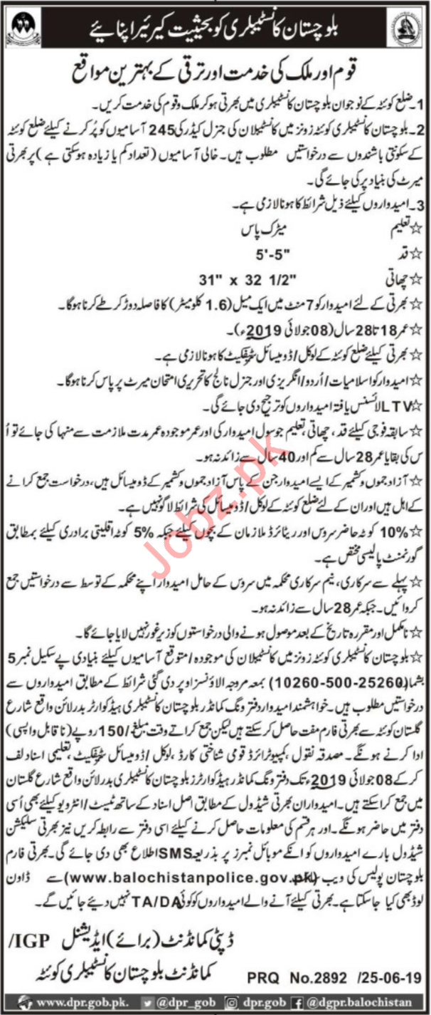 Balochistan Constabulary Jobs 2019 in Quetta