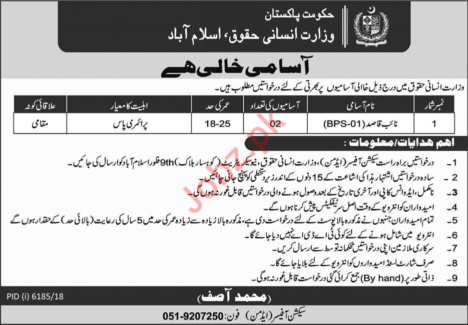 Ministry of Human Rights Jobs 2019 For Islamabad