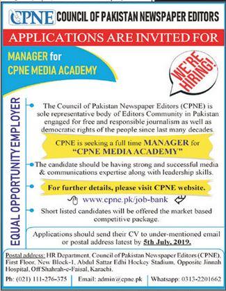 Council of Pakistan Newspaper Editors CPNE Jobs in Karachi