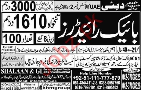 Bike Rider job in Dubai